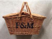 Fortnam and Mason empty picnic hamper with twin handles