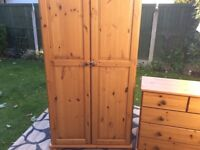 PINE TWO DOOR WARDROBE AND THREE PLUS TWO CHEST DRAWERS