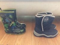 Boys fur lined winter boots and wellies -size 7&8