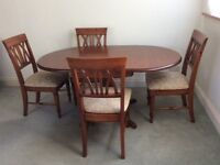 Drop leaf wooden dining table & 4 chairs
