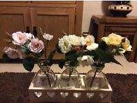 Peony 3 vases of roses and stand
