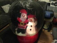 Christmas ,outdoor blowup inflatable snow globe snow man father Xmas ,lights up with snow