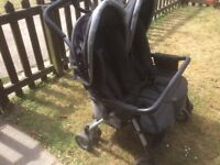 Side by side double buggy, rain cover, shopping basket! Used but very good condition