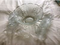 Glass punch bowl 'Romance' for 12. Excellent unmarked condition