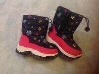 Girls Snow Boots Toddler Ski fleece lined uk Size 8 Eur 25.5cm