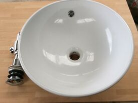 New countertop basin sink and chrome trap