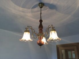 Mahogany colour light fitting complete with glass shades.