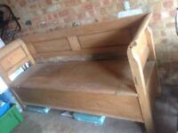 Solid wooden vintage Hungarian settle bench pew kitchen seating