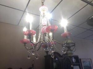 cranberry Opalescent crystal Antique Hanging Lamp SALE 795