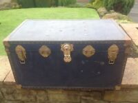 Large antique/vintage 1970's travel trunk/chest/coffee table/blanket box/attic storage