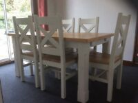 Solid Wood Extending Dining Table + 6 Chairs