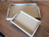 2 very pretty Susie Watson wooden trays in soft sage green with heart shaped handles