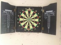 Dartboard with cabinet, darts and oche