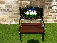 Refurbished Victorian farm animal cast iron children's garden bench