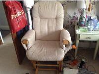 Nursing glider rocking chair + stool