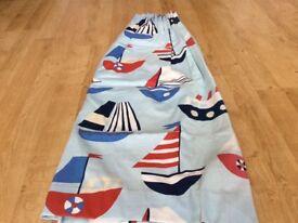 Blue boat design curtains, John Lewis made