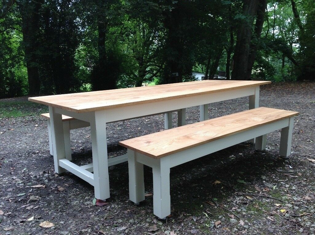 Massive Huge Large Oak Dining Table Two Benches Seats Island - Huge picnic table