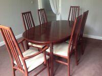 Mahogany Dining Table x 6 Chairs. £95