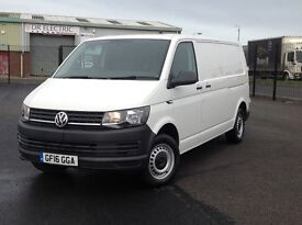 2016 LONG WHEEL BASE VOLKSWAGEN TRANSPORTER 2.0 TDI BLUEMOTION. ONLY 13000 MILES. PLY LINED ETC.