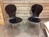 2stunning ex display black chairs ,ideal home/cafe/shop
