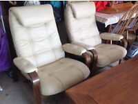 Real leather Scandinavian Recliner Chairs