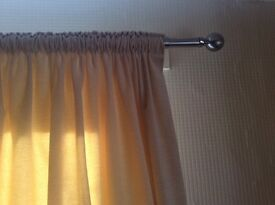 Beautiful cream chenille curtains and pole, tie backs