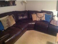 Large, 5 seater leather corner sofa