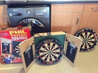 PHIL TAYLOR DART BOARD AND CABINET PLUS EXTRA BOARD