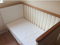 Mothercare summer oak cotbed and mattress