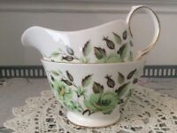 Colclough Bone China Milk Jug and Sugar Bowl. Green Floral