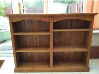 Glazed Solid Oak Low Bookcase
