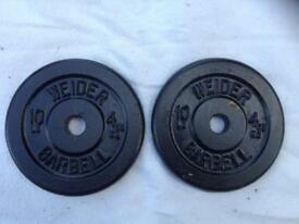 6 x 10lb (4.5kg) Weider Standard Cast Iron Weights