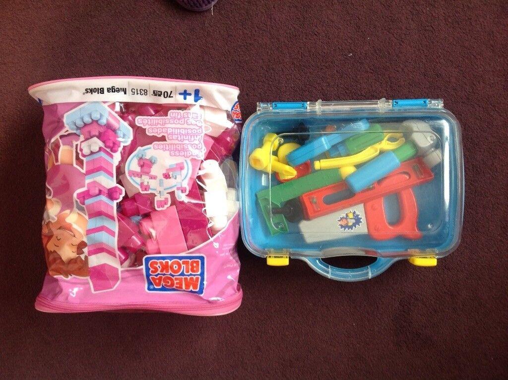 Pink bricks for a toddler