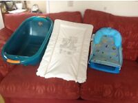 Baby bath , seat and changing mat