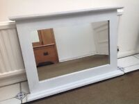 Distressed shabby chic cream wall mirror ready to hang. Bedroom or Living Room