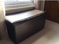 Brown Faux Leather Blanket Box