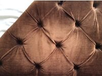 Headboard for single bed,, dark brown velvety material