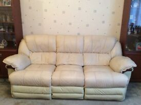 Cream leather 3 seater settee and armchair