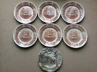 Alfred Meakin Fair Winds Friendship of Salem Dinner Plates & Royal Mail Carriage Decorative Display