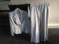 Grey Striped Trouser Suit Size 12/14