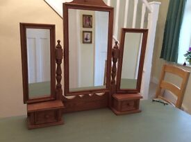 Pine dressing table top with 3 mirrors and 2 small drawers.