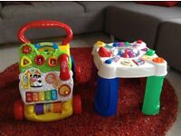 Baby walker and musical activity table