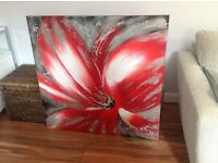 Stunning large rose oil canvas