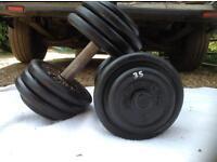 2 x 35kg Bodysculpture Cast Iron Dumbbell Weights
