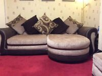 P shaped sofa with matching bed settee and storage box/ footrest