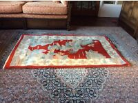Chinese rug red cream an light green 90cm x 152cm very good condition
