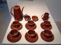 "16 piece retro coffee set in dark brown. Made in Poland ""Pruszcow"" trademark"