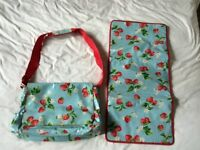 Cath kidston strawberry oilcloth changing bag & mat