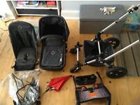 Bugaboo Cam 2 in denim with accessories and Lascal Maxi buggy board