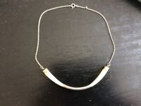 Necklace vintage silver and mother of pearl choker